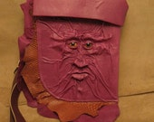"Grichels leather large shoulder bag - ""Mirkis"" 27827 - fuchsia purple and scaly rusty brown with copper star eyes"