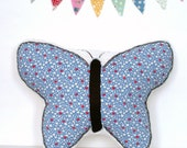 Butterfly Pillow / Nursery Decor / Girl's Room Decor / Red, White and Blue / Floral / Hand-Embroidered / Minky Pillow / New Baby Gift