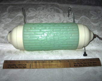 Vintage Green Glass Over the Headboard Lamp - Reading Bed Lamp