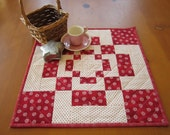Quilted Table Topper, Table Toppers,  Handmade Tabletop, Red Tabletop, Table Quilt, Valentine Decor, Home Decor, small quilt, patchwork