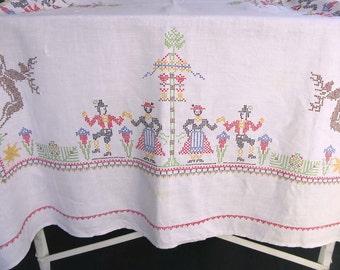Vintage Tablecloth Linen Cross Stitch, Folk, Dancers, Maypole, Reindeer, Rectangular