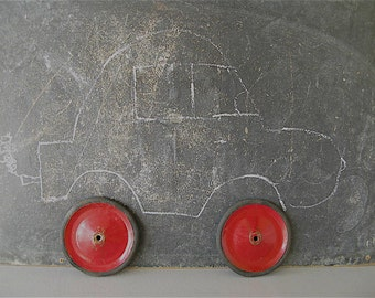 Vintage Red  Metal Wheels Rubber, Pair, Buggy wheels, cart wheels