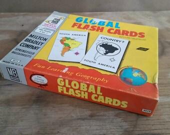 Vintage 1958 Milton Bradley Global Flash Card Set