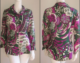 60s 70s vintage op art abstract flower blouse