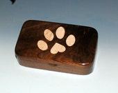 Walnut Wood Treasure Box With Inlaid Curly Maple Dog Paw Print - Dog Box, Dog Print Heart Box,Small Wood Box, Handmade Wooden Box,Dog Box
