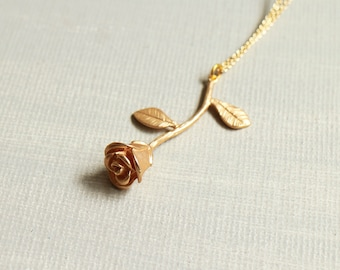 Rose Necklace. matte gold rose necklace. gold rose flower pendant.anniversary birthday gift. Valentine's Day