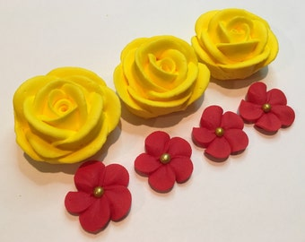 Lot 25 yellow roses and 50 red flowers
