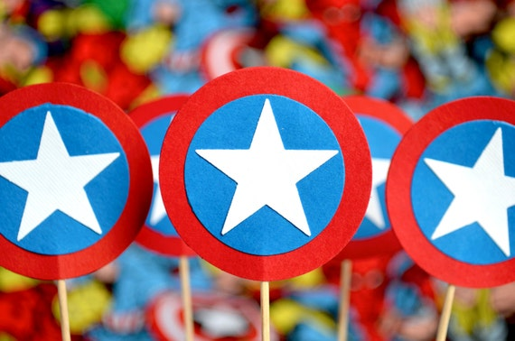Superhero Cupcake Toppers - Captain America style red, white and blue circles and stars