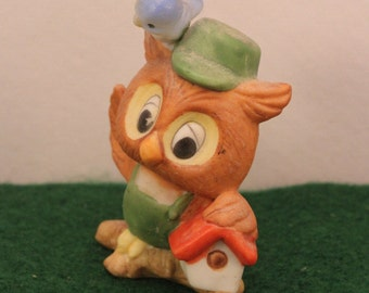 Miniature Owl Figurine by Kelvin w Bird Birdhouse Woodland Animal Bird Kitsch