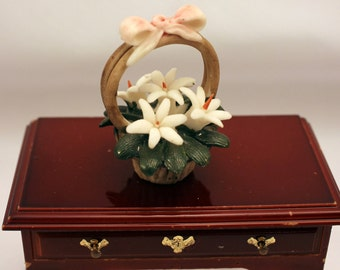 Miniature Capodimonte Flower Basket of White Lilys Bisque Porcelain Made Italy Dollhouse Decor