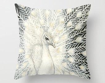 White Peacock Pillow Home Decor