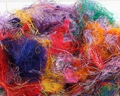 3.5oz Rainbow Recycled Silk Fiber for Fiber Crafts Spinning Dyeing Doll Making Fiber Arts
