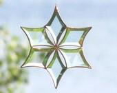 Sculptural Stained Glass Snowflake Flower Suncatcher with Copper Patina Large Size Fire and Ice Handmade in Canada Christmas Gift Idea