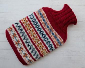 Knitted Hot water bottle cover merino wool fairisle Multicoloured red