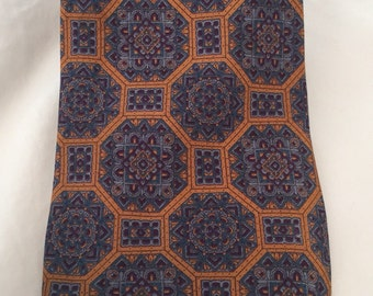 Blue Stained Glass Medallions Surrounded by Burnt Umber Vintage LOWES Silk Necktie