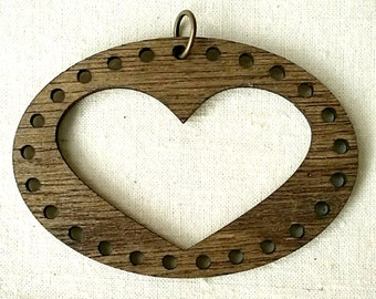 Stitchable Wooden Heart Pendant DIY *Walnut/ Maple/ Red Chestnut/ Natural/ Jacobean Finish*
