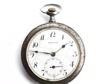 25 OFF SALE RARE Antique Swiss pocket watch White Lily
