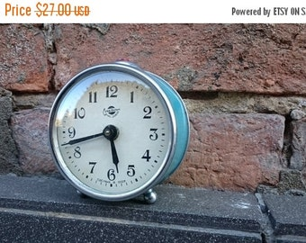 25 OFF SALE Vintage alarm clock Sevani from Armenia, turquoise clock, Soviet era alarm clock, mechanical clock