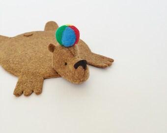 Bear Rug Coaster with Beach Ball
