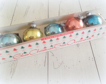 Vintage Shiny Brite Christmas Balls Aqua Blue Gold Peach Ornaments Mid Century Holiday