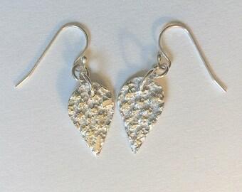 teardrop earrings, silver earrings, shell earrings, gift for her, abstract earrings, fine silver, birthday gift, beach earrings, surfer