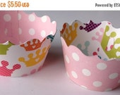 CLOSEOUT SALE Princess Crown and Polka Dots Cupcake wrappers SET of 12