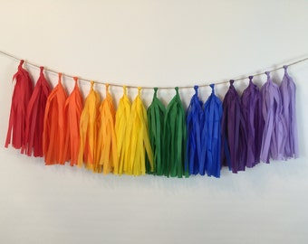 Rainbow Tassel Garland Tissue Paper Tassels Garland Kit Set of 16 to 32  - Choose your Colors