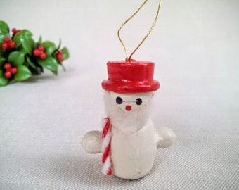 Small Vintage Christmas Bearded Snowman Ornament, Hand Painted Wood Miniature Doll Figurine Ornament, Vintage Christmas Holiday Decoration