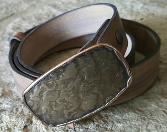 "Hypoallergenic Belt & Buckle SET Stainless/Bronze Buckle w/ Hand Dyed Woodgrain Belt Rodeo Cowboy  Accessory For 1.5"" Belt Jeans /Chinos"