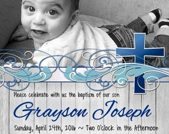 CUSTOM Christening, Baptism, Baby Dedication Invitation with picture