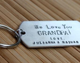 We Love You Grandpa Keychain, Granddad, Pop Pop