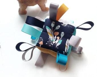 Blue Feathers Baby Block, Gift Set, Aqua Turquoise Saffron Gold Grey, Ribbon Baby Toy, Baby Rattle, Bandanna Bib, Wood Teether, Boy Shower