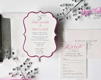 Sample - Custom Pink Glitter Die Cut Wedding Invitation with Crystal Monogram, Sweet Sixteen or Bat Mitzvah