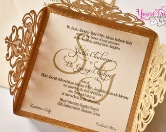 Gold Glitter and Gold Square Laser Cut Wedding Invitation Suite Custom in your colors