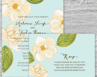 DIY Printable Watercolor Magnolia Invitation Set