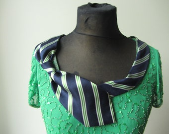 Green Sequin Top detailed with Repurposed Necktie, Funky Hipster Shirts, Green Beaded Tops, Green Sequin Shirt, Upcycled Recycled Clothing