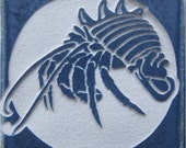 4x4 Hermit Crab - Etched Porcelain Tile - Coaster