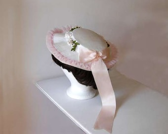 Vintage Fashion Hat, Bonnet, Millinery Hat, 1960s Easter Fashion, Girls, Women, Wide Brim, Pink and White, Door/Wall Decor