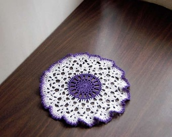 Purple Decor Crochet Lace Doily, Table Topper, Country Chic Home Accessory, Ruffled