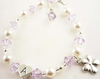 Flower Girl Bracelet - violet purple and white pearl- flower charm- choose colors