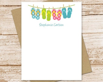 PRINTABLE personalized stationery . FLAT note cards, notecards . flip flops . personalized stationery . clothesline stationary . You Print