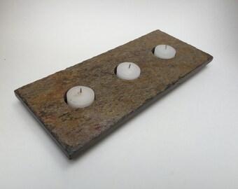 three tealight slate candle holder