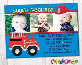 Firetruck Birthday Invitation, Boy Birthday Party