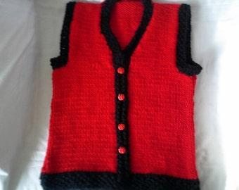 Hand knitted Girls Childs V neck Vest