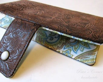Handmade wallet brown faux tooled leather - floral #15 - light blue paisleys - women clutch brown - Custom order