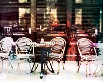 NEW, Outdoor Dining, digital photo, restaurant art, cafe, chairs and table, Minneapolis, kitchen art,  wall art, home decor, Minnesota art