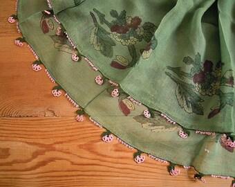 vintage turkish scarf, green pink, block print