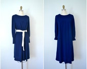 1970s royal blue knit dress / comfortable peasant wool like pajamas / large xl xxl