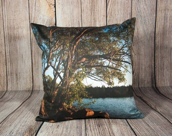 Decorative Nature Pillow Covers, Scenic Photo Cushion Case, Man Cave Decor, Lake House Cottage Accent, Handmade in Canada,Green Tree Branch