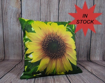 Sunflower Yellow Cushion Cover, Photo Pillow Case, Country Chic Decor, Freesia, Summer Home Style, Fresh Look, For Sofa, Lounge Chair